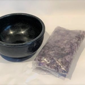 MT-Gemstone Meditation Bowl w/Amethyst Soothing Stones