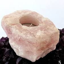 CC-Natural Rose Quartz Candle Holder