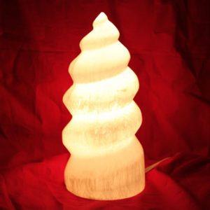 SL-Selenite Lamp – Spiral w/Natural Base (SM)